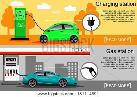 Flat vector illustration of an electric car charging at the charger station and a car fueling at the gas station. Electromobility e-motion concept. Eco fuel and gasoline.