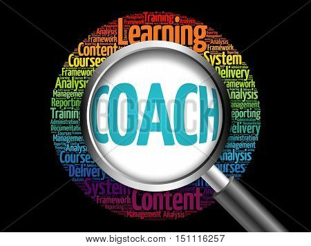 Coach Word Cloud With Magnifying Glass