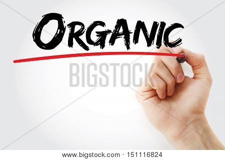 Hand Writing Organic With Marker