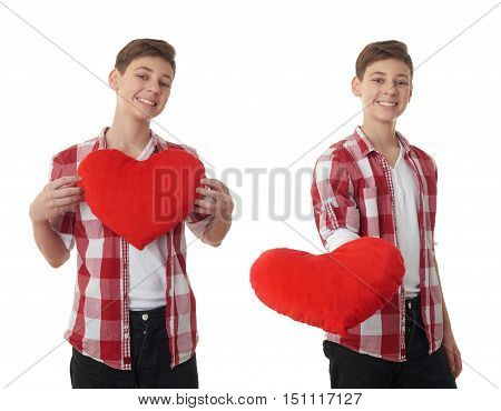 Set of cute teenager boy in red checkered shirt with plush heart over white isolated background, half body
