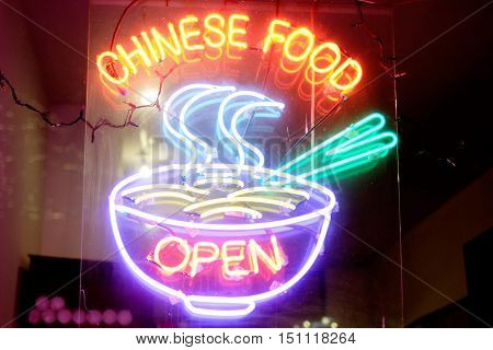 Chinese Food Neon Sign and chopsticks: Open