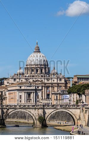 View of St. Peter's Basilica after the canonization of Pope John XXIII from Ponte Umberto I