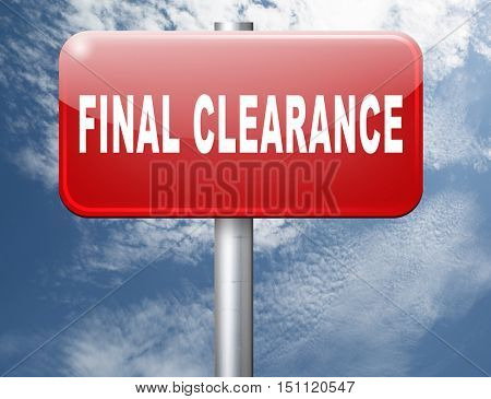 final clearance and big stock sale road sign for webshop sales or web shop billboard 3D illustration