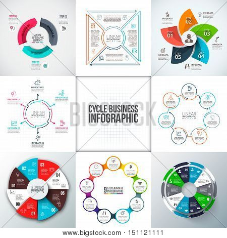 Big set of vector arrows, circles and thin line flat elements for infographic. Business concept with 3, 4, 5, 6, 7, 8, 9 and 10 options, parts, steps or processes.