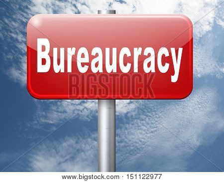 Bureaucracy paper work and public administration of official files and documents, road sign billboard. 3D illustration