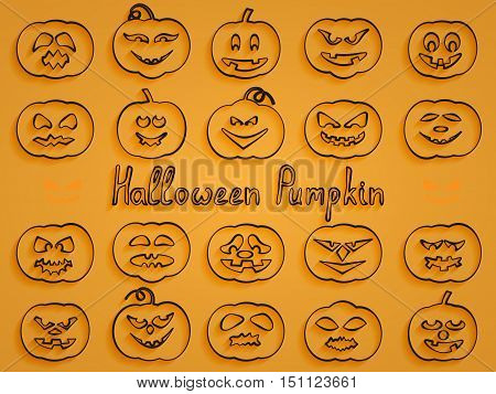 Set of 20 volumetric contours of pumpkins for Halloween with different facial expressions on a yellow background and the words Halloween pumpkin
