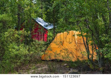 Yellow tourist tent installed in the Karelian forest on a hot sunny day.