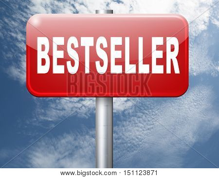 Bestseller, most popular road sign popularity billboard for best seller or market leader and top product or rating in the charts 3D illustration