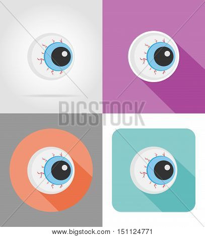 halloween eyeball flat icons vector illustration isolated on background