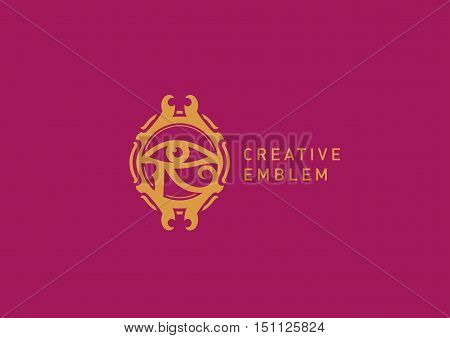 Creative Egyptian emblem, eyes, decorative circle in marsala colors