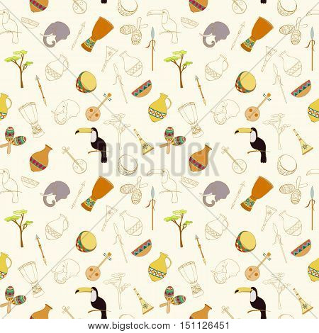 Hand-drawn seamless african pattern. Sketch elements of elephant, toucan, drum, sharers, horn, vase, plate, spear