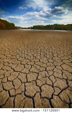 Land with dry and cracked ground. Climate change dry lake