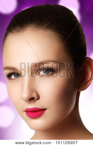Portrait Of Elegant Woman With Pink Lips. Beautiful Young Model