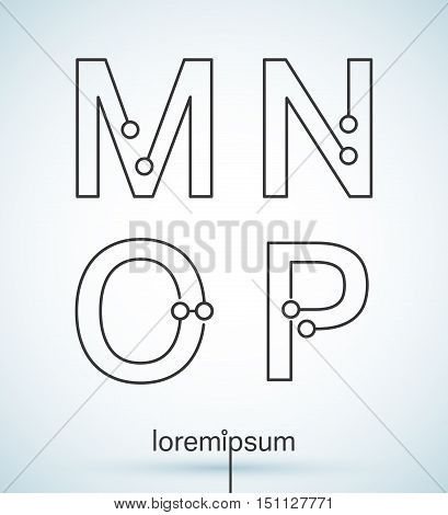 Connection dots font. Set of letters M, N, O, P logo or icon vector design