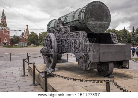 Moscow Russia -September 09 2016: Kremlin. The Tsar Cannon cast in bronze in 1586 by A. Chokhov on Cannon yard. Tourists visiting the sights