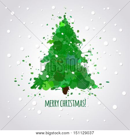 Christmas tree wit paint splatters and stains, vector illustration