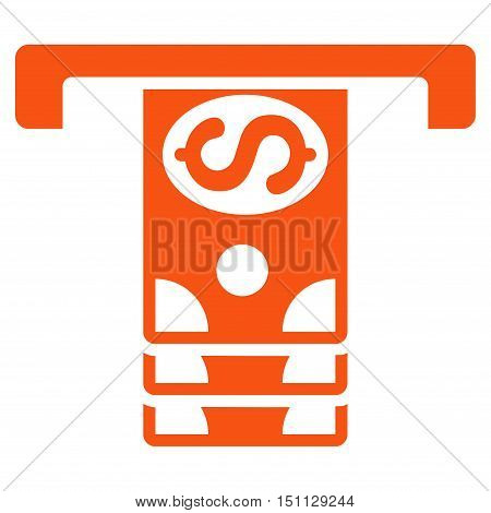 Banknotes Withdraw icon. Glyph style is flat iconic symbol with rounded angles orange color white background.