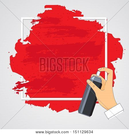 Roughly painted with red paint vertical surface with a white border and spray in a man's hand. Vector illustration.