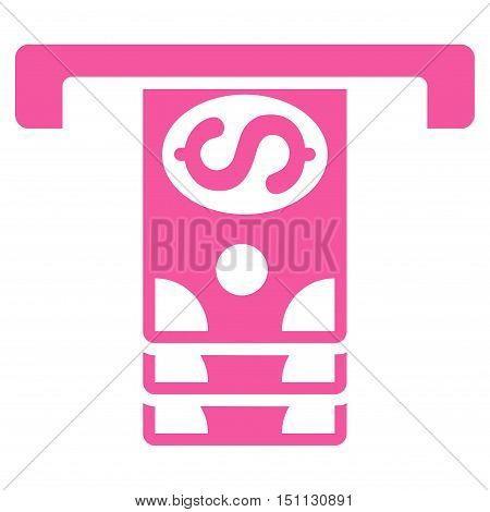 Banknotes Withdraw icon. Glyph style is flat iconic symbol with rounded angles, pink color, white background.