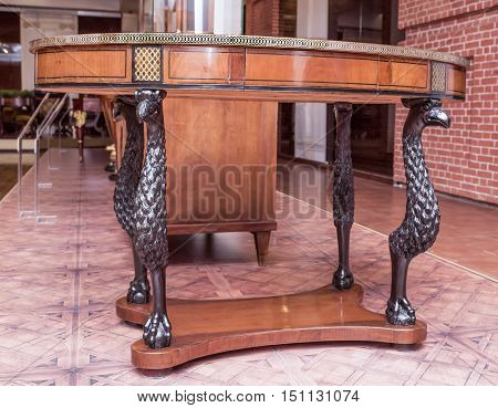 Moscow Russia -September 092016: Table near the divan- workshop G. Gambs. Early 19th century. Historical Museum
