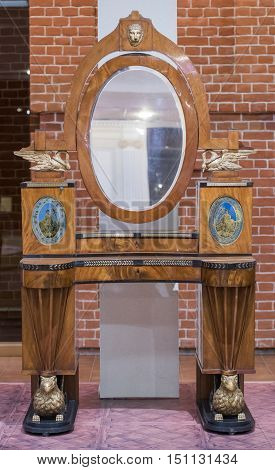 Moscow Russia -September 092016:Toilet table- workshop G. Gambs. Early 19th century. Historical Museum