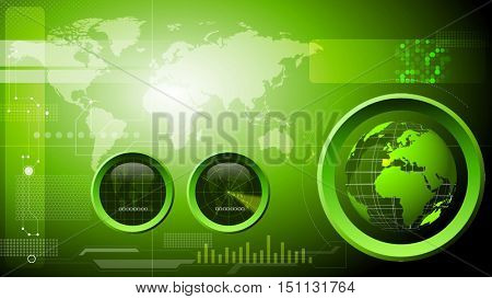 Technology, engineering, strategic and military background. Room for your text and logo on the left side. 3D rendering.