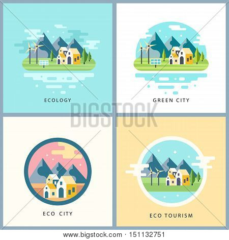 Eco city set. Alternative energy concept. Countryside scenery with mountains, lake and houses, solar panels and windmills. Ecotourism. Background for websites, games in modern flat style