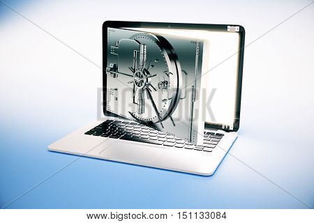 Close up of laptop computer with abstract open bank vault door on screen. Light blue background. Online banking concept. 3D Rendering