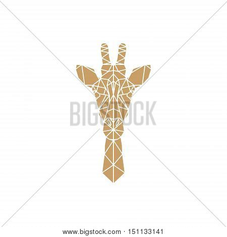 Giraffe head geometric lines silhouette isolated on white background. Abstract geometric polygonal triangle illustration for use in design for card invitation poster banner.