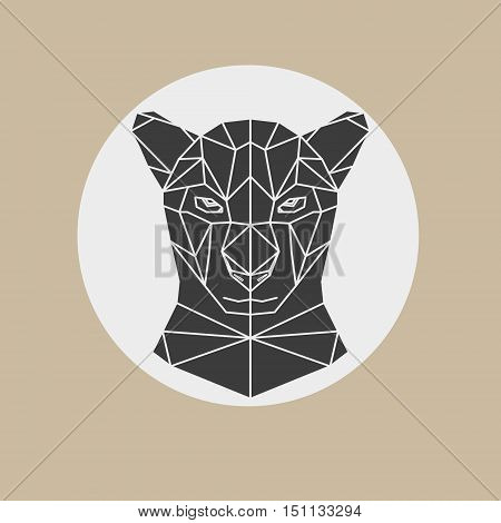 Black panther head geometric lines silhouette isolated on light brown and white background. Abstract geometric polygonal triangle illustration for use in design for card invitation poster banner.