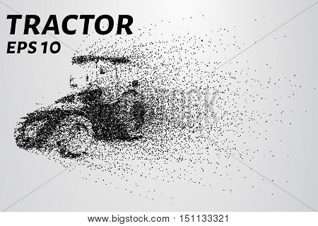 Tractor of the particles. The wind carries the pieces of the tractor.