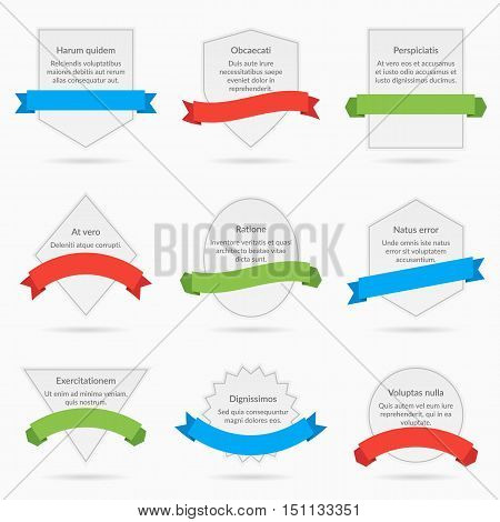 White banner cards with ribbons isolated on white background. Set of banner with decoration ribbon, illustration cards with text and ribbons
