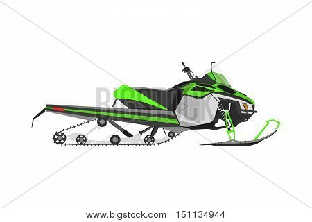 Green snowmobile on a white background. Transport for extreme winter sports. Vector illustration