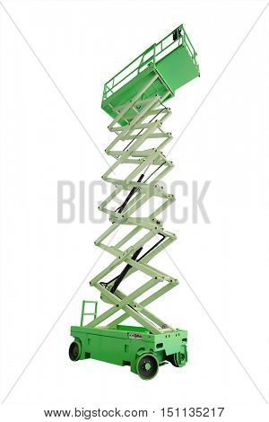 The image of lifting machines isolated under the white background