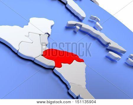Honduras On World Map