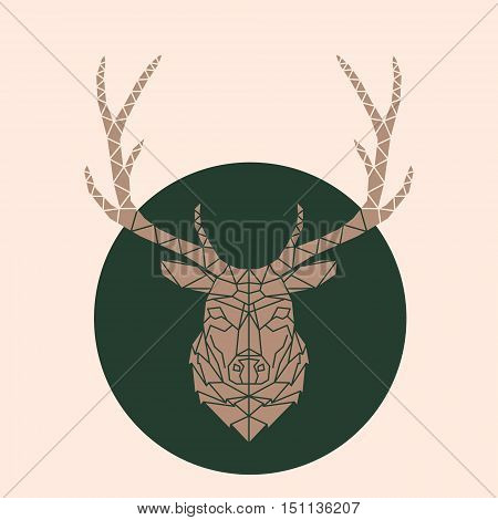 Abstract Vector geometric Line Style Deer Face Illustration on green background. Isolated. geometric polygonal triangle illustration for use in design for card invitation poster banner.