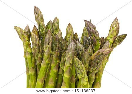 Tips Of Bunch Of Fresh Green Asparagus Spears