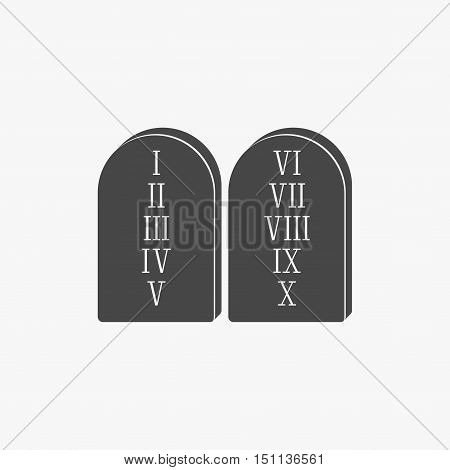 Two stone with the ten commandments icon isolated on grey background in flat style.