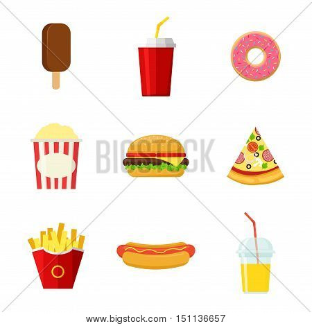 Set of colorful Fast food vector icons isolated on white background. Fast food hamburger dinner and restaurant, tasty fast food meal and unhealthy fast food classic nutrition in flat style.