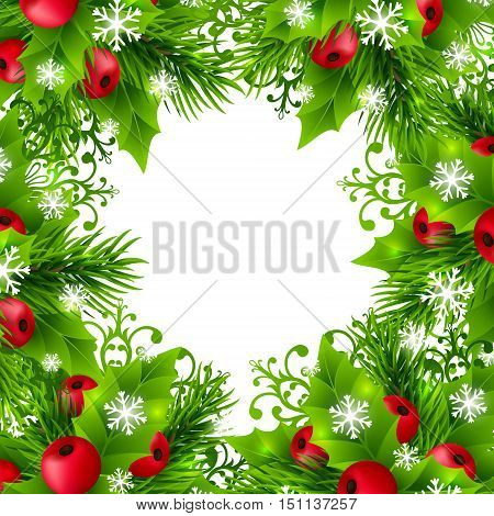 Christmas background with fir branches, holly leaves, red holly berries and glowing snowflakes. Winter holiday poster with decorations and greeting text. Vector illustration.