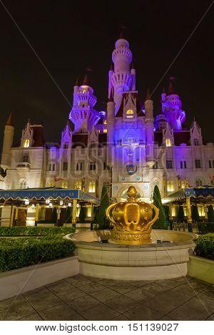 SINGAPORE - April 30: Magic Castle in Universal Studio park at Sentosa Island in Singapore on April 30, 2016.