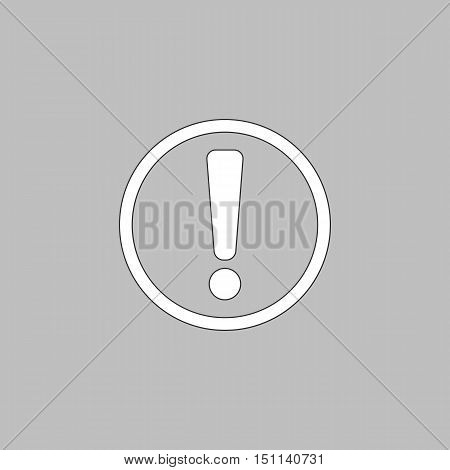 Exclamation Simple line vector button. Thin line illustration icon. White outline symbol on grey background