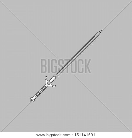Sword Simple line vector button. Thin line illustration icon. White outline symbol on grey background