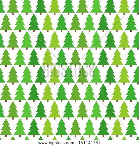 Christmas trees green seamless pattern. Vector illustration