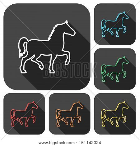 Horse silhouette line icons set with long shadow