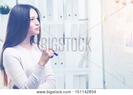 Pretty Woman Looking At Office Whiteboard