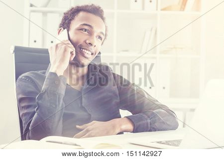 Happy Black Man On Cellphone