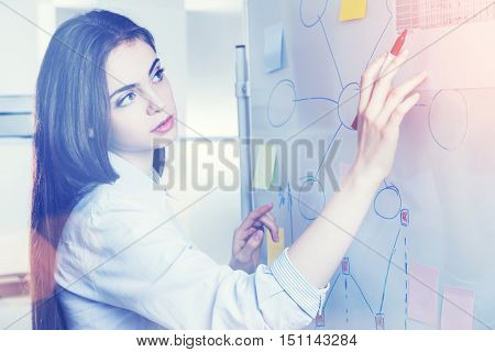 Attractive caucasian woman drawing business charts and graphs on office whiteboard. Closeup. Toned image