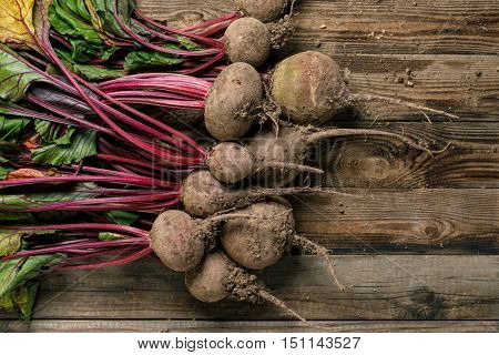 Beetroots with green leaves