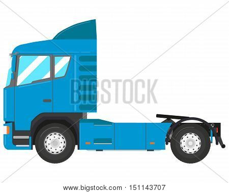 Blue modern truck-tractor isolated on white background. Vector illustration